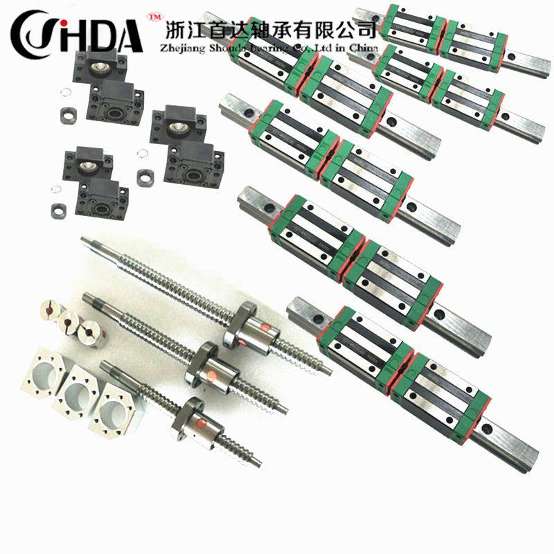 Kostenloser versand cnc set HGR20 Platz Linear führer sätze 12 stücke HGH20CA + SFU605/1610 1605 ball schraube + BK BF12 + Welle kupplung
