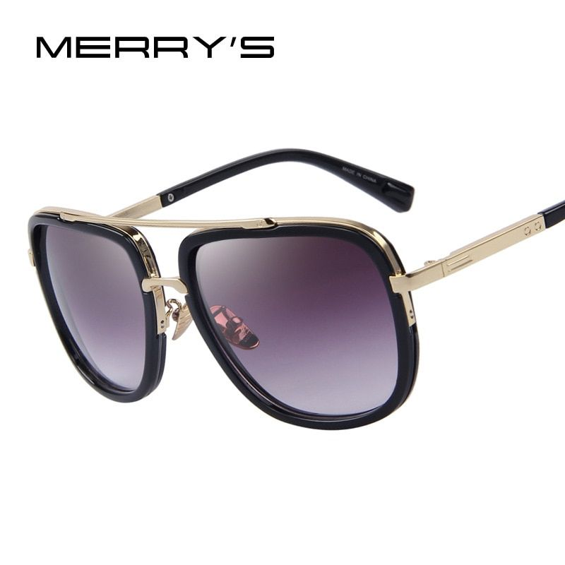 MERRY'S Fashion Men Sunglasses Classic Women Brand Designer Metal Square Sun glasses UV400