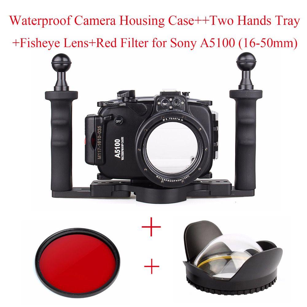 Meikon 40 mt Unterwasserkamera Gehäuse Fall für Sony A5100 (16-50mm), Wasserdichte Kamera Taschen + zwei Hände Tray + Fisheye-objektiv + Rot Filter
