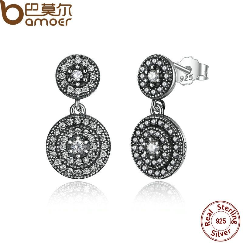 BAMOER 925 Sterling Silver Radiant Elegance Earrings Clear CZ Crystals Surrounded Ancient Silver Women Drop Earrings PAS471