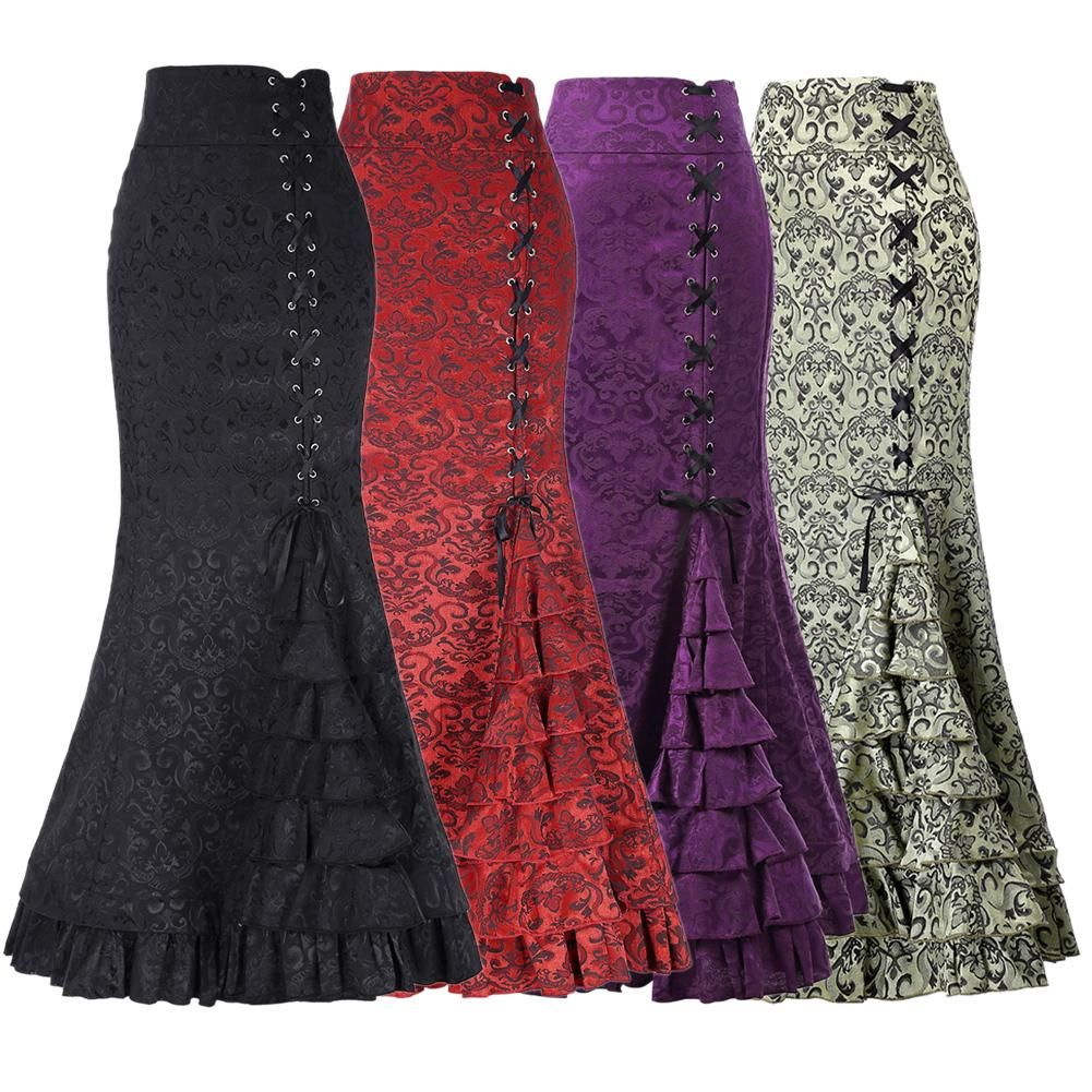New Women Sexy Gothic Vintage Long Mermaid Skirt Floral Print Ruffe Lace Up Maxi Skirt Bodycon Slim Elegant Long Skirt