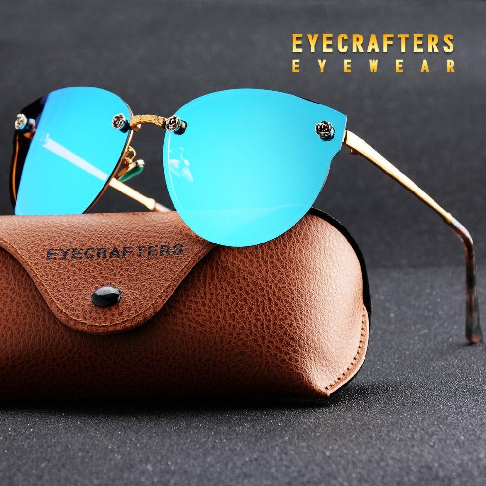 Eyecrafters Luxe lunettes de Soleil Polarisées Femmes Mode Sexy Oeil de Chat Réfléchissant Miroir Lunettes De Soleil Rétro Vintage lunettes de soleil femme