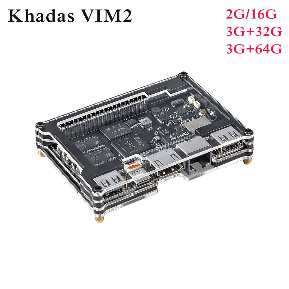 Khadas VIM2 Max Open Source Octa Core TV Box 2G/3G RAM DDR4 16G/32GB/64GB SBC 2x2 MIMO WiFi Amlogic S912 Android/Ubuntu TV Box