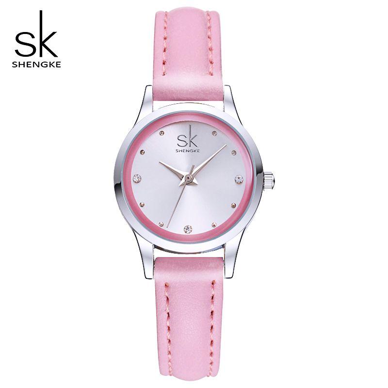 Shengke señoras relojes redondo dial cuarzo reloj mujeres moda cuero relojes montre Femme SK 2018 relogios feminino # k0008