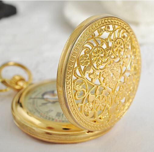 Brilliant Gold Steel Antique Hunter Luxury Mechanical Pocket Watch Mens With Chain 38cm relogio de bolso PJX963