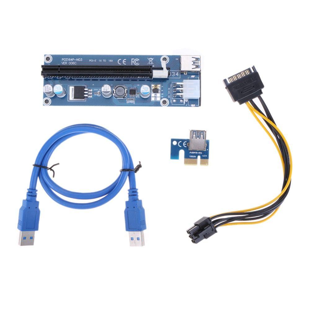 VKTECH mise à niveau USB 3.0 PCIe PCI-E PCI Express Riser Card 1x à 16x Extender adaptateur w/15pin à 6PIN câble d'alimentation pour BTC Miner