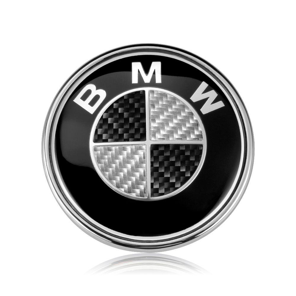 BMW Logo Real Carbon Fiber Black Silver 82mm 74mm Hood Trunk Badge Emblem BMW E46 E30 E39 E34 E90 E60 E87 M3 M4 F10 F20 F30 X5