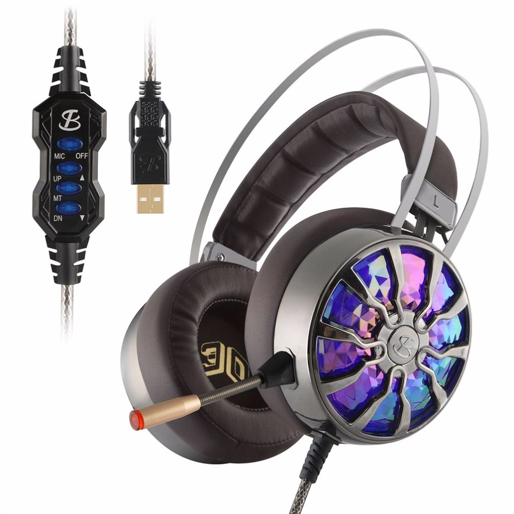 NiUB5 PC65 Glowing Gaming <font><b>Headset</b></font> Bass stereo 3D Immersive USB 7.1 Surround Sound Shock PS4 Headphones for Computer Gamer