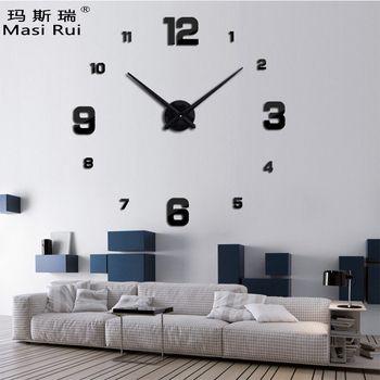 2017 new arrival 3d real big wall clock modern design rushed Quartz clocks fashion watches mirror sticker diy living room decor