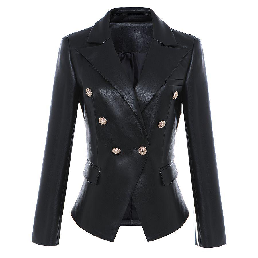 HIGH STREET Newest Baroque Fashion 2018 Designer Blazer Jacket Women's Lion Metal Buttons Faux Leather Blazer Outer Coat