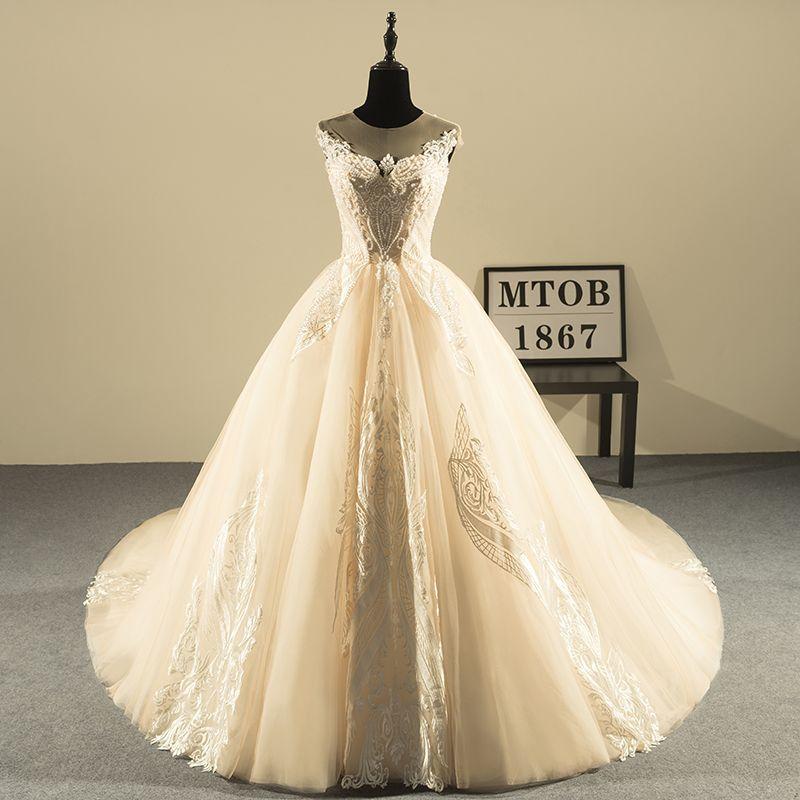 Neue Design Ballkleid Spitze Brautkleider 2019 Luxus Perlen Backless Sexy Vintage Brautkleider China Online Shop MTOB1810