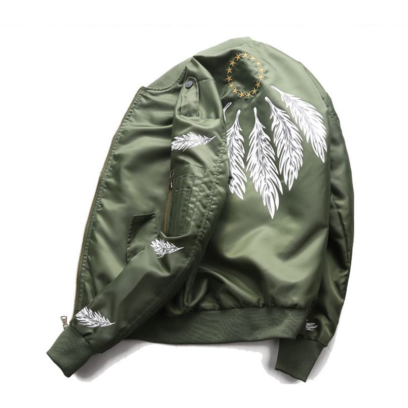 Feather Print Couple Flying Air Force Jacket Men Ma-1 Bomber Jacket Spring/Autumn Windbreaker Military Outwear Fashion Top Coat