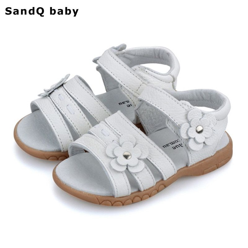 Enfants sandales 2019 été en cuir véritable enfants sandales pour filles fleur filles princesse chaussures respirant bébé filles sandales
