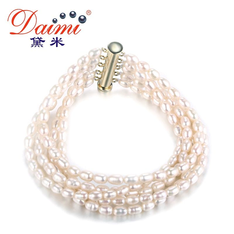 [Daimi] Tiny Pearl Bracelet Small Fresh Water Pearl Natural White Pearl Charm Multilayer Bracelet Trendy Style