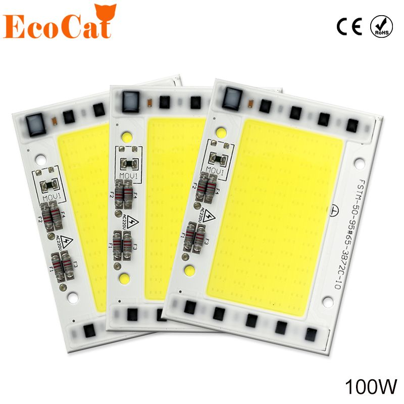 ECO CAT LED 220V 100W COB Chip Lamp Smart IC High Power LED Matrix Diode Array For Spotlights Searchlight Street Floodlight
