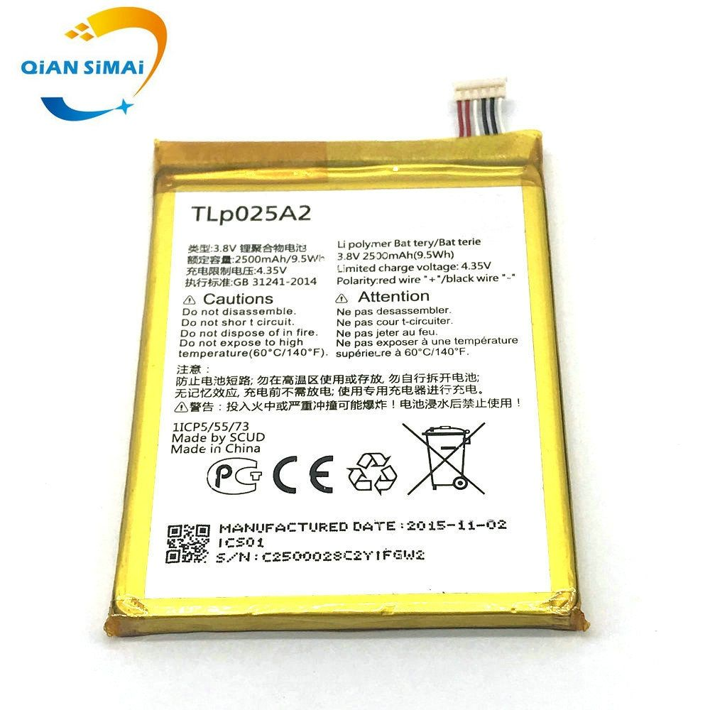 QiAN SiMAi New High quality TLp025A2 battery For ALCATEL one touch OT-8008D scribe HD OT8000 8000D 6043D TCL Y710 Y900