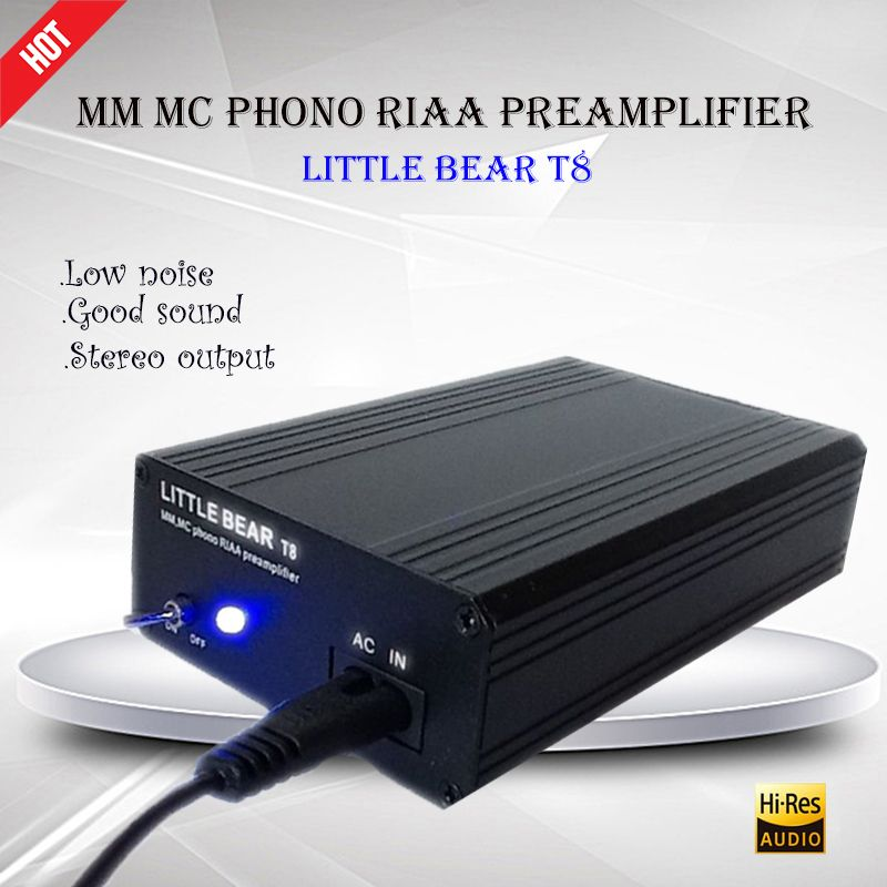 Little Bear T8 Preampli Turntable MM MC Phono RIAA Preamplifier Hifi Stereo amplificador Portable Phono Power Digital Amplifier