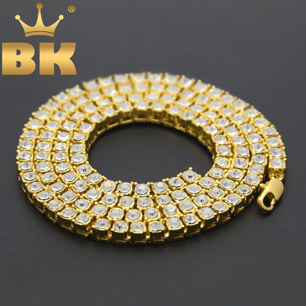 Hommes Hip Hop Bling Bling glacé Out Tennis chaînes 1 rangée colliers de luxe marque argent/or couleur hommes chaîne mode bijoux