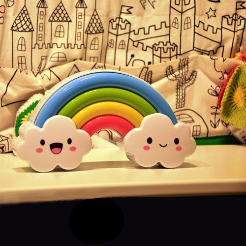 Luz del arco iris sonido y control de luz Nightlight creativo pared pegatinas niños habitación dormitorio ENFERMERÍA EN