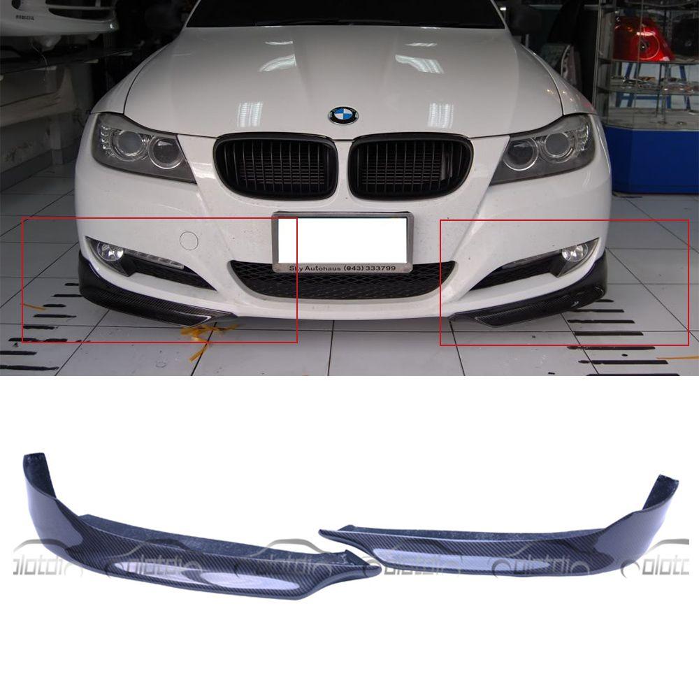 OLOTDI Auto Tuning P Stil Carbon Vorder Stück Splitter Stoßstange Ecke Lip für BMW E90 LCI OEM 2009- 2011 2 teile/satz OLOTDI
