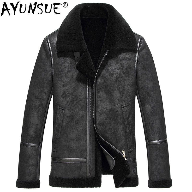AYUNSUE 2018 Genuine Leather Jacket Men's Real Pure Natural Wool Fur Coat Winter Jacket Men Real Sheepskin Leather Jackets MY750