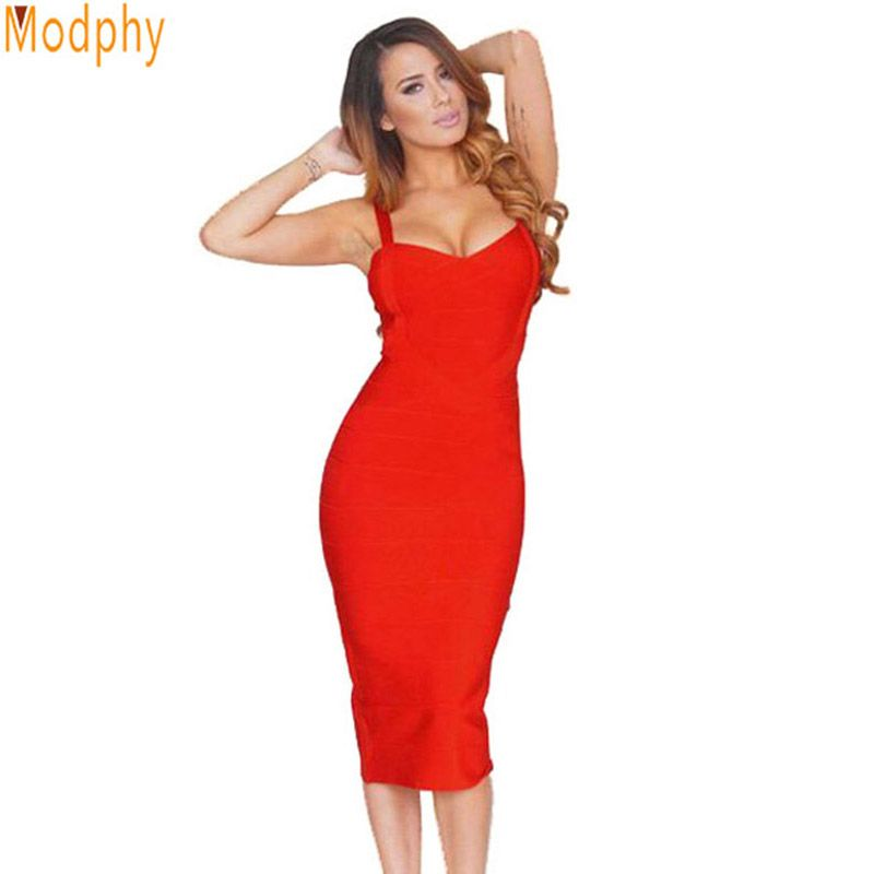new 2018 women sexy celebrity midi red white hl elastic bandage dress spaghetti strap club bodycon party dress wholesale HL434