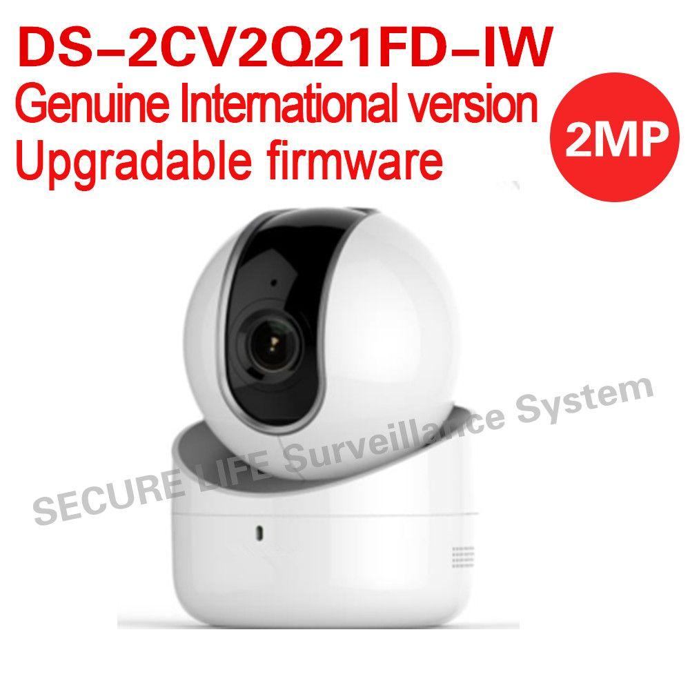 Бесплатная доставка ds-2cv2q21fd-iw английская версия 2mp 5 м ИК купольная ip-камера видеонаблюдения PT Камера WiFi, встроенный микрофон, динамик двухст...