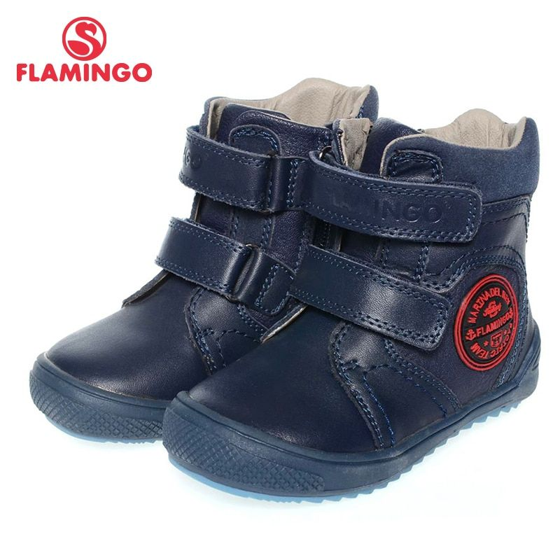 Фламинго высокого качества модные весенние/осенние кожаные детская обувь для мальчика новинка 2015 Коллекция анти-ботинки без застежки xb4862