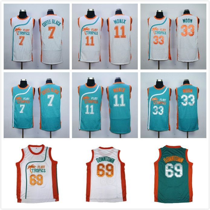 <font><b>Semi</b></font> Pro Flint Tropics Jackie Moon 33# Coffee Black 7# Ed Monix 11# Downtown #69 Throwback Retro Basketball Jerseys All Stitched