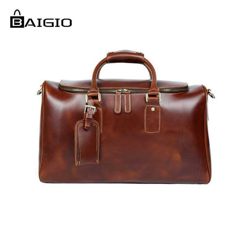 Baigio Genuinie Leather Travel Bags Men Duffle Overnight Weekender Bag Carry on Shoulder Luggage Men's Business Travel Bags