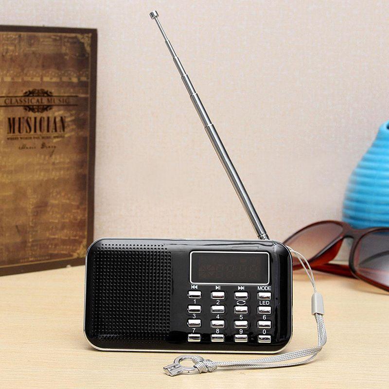 Mini l-218 digital LCD MP3 Radios altavoz soporte TF tarjeta USB con función de linterna LED portátil Radios altavoz FM