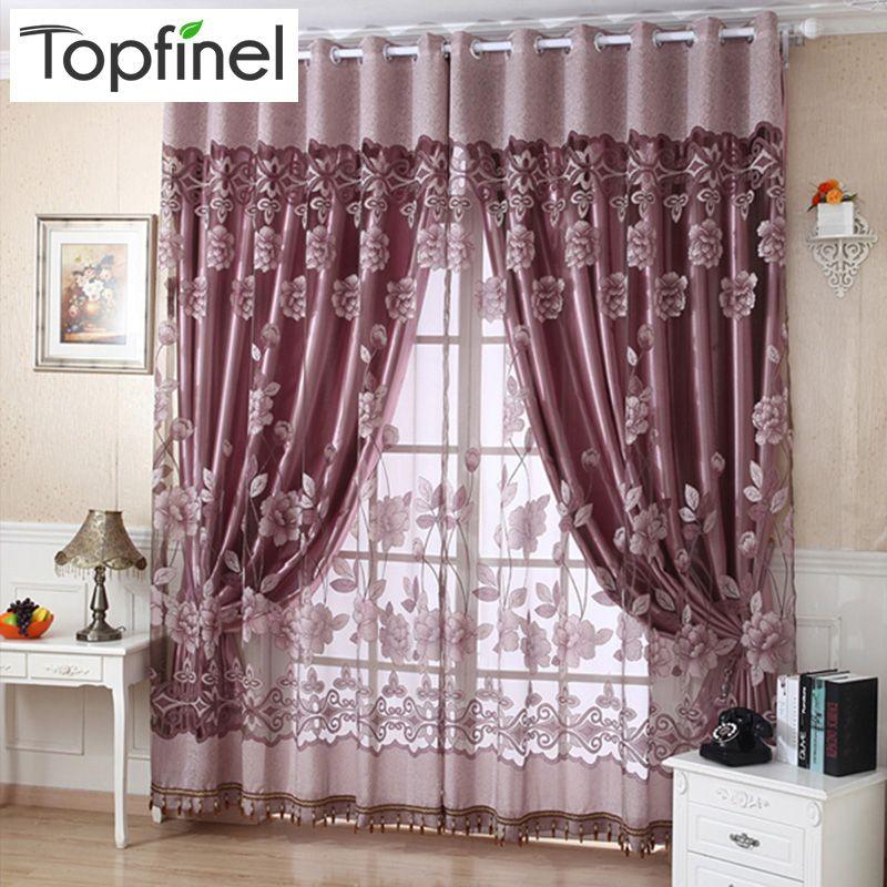 Top Finel luxe jacquard ombre tulle pour fenêtre rideaux transparents pour salon chambre cuisine stores fenêtres traitements tissu