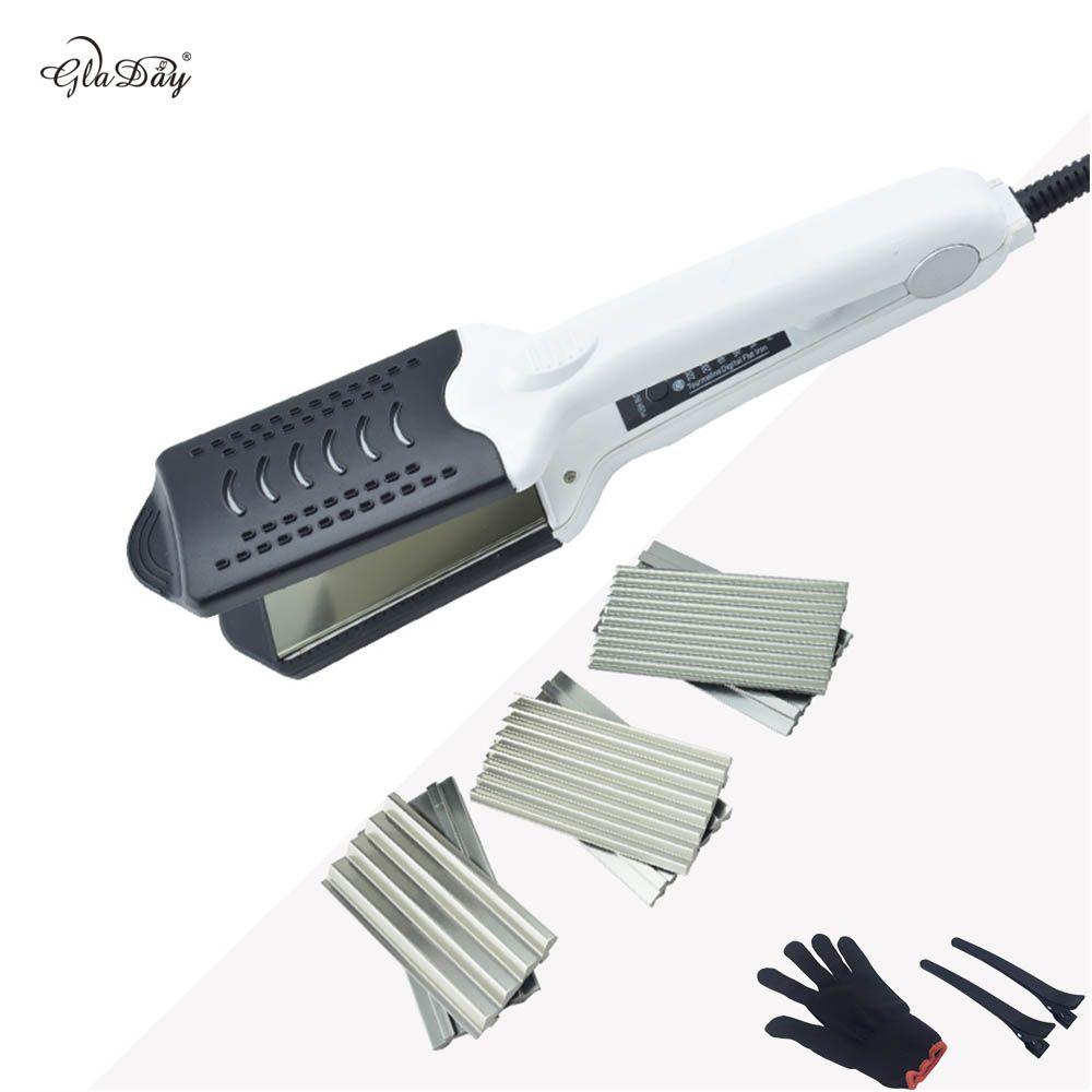 Heißer Verkauf Multifunktionale keramik Doppel Voltage Haarglätter curling Lockenwickler Wellblech Mit 4 Platte mit Handschuh