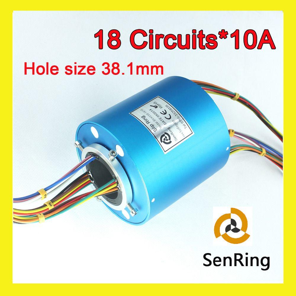 18 circuitos 10A antideslizante Tamaño del agujero del anillo 38.1mm 300 rpm a través de deslizamiento anillos senring