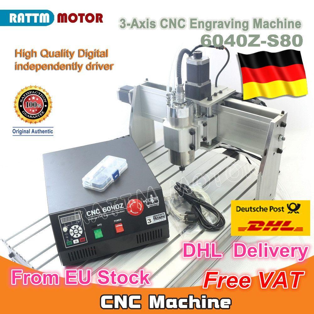 EU Schiff kostenloser MEHRWERTSTEUER 3 Achse Mach3 6040Z-S80 1500 W 1.5KW Spindel Motor CNC Router Engraver Gravur Schneiden Fräsen Maschine 220VAC