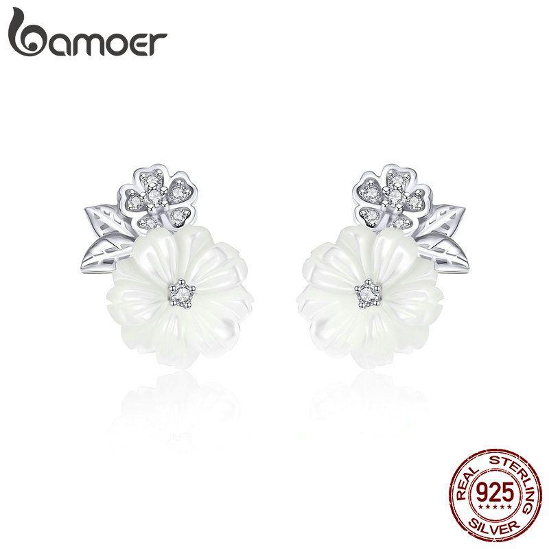 BAMOER Echtem 925 Sterling Silber Shell Blume Weiß Emaille Stud Ohrringe für Frauen Mode Sterling Silber Schmuck BSE008