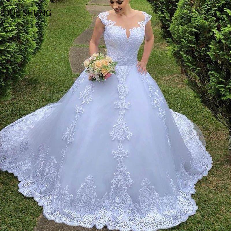 E JUE SHUNG Weiß Vintage Spitze Ballkleid Brautkleider Sheer Zurück Tasten Hochzeit Kleider Braut Kleider vestidos de novia