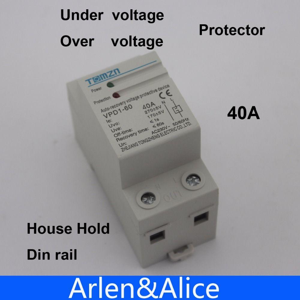 1 stücke 40A 230 V din-schiene automatische wiederherstellung verbinden überspannung und unter spannungsschutzgerät schutzrelais