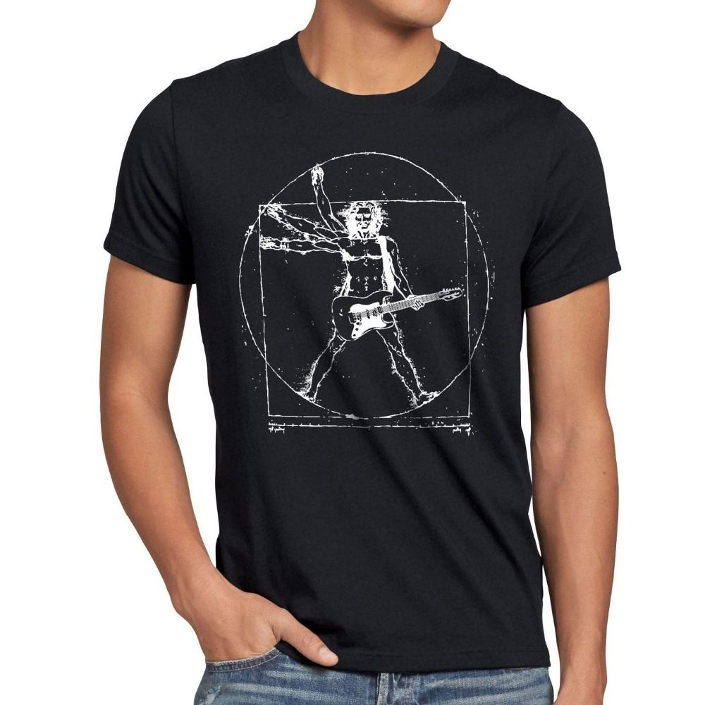 Herren lustige T-shirt Da Vinci Rock Homo VitruvianusT-Shirt Uomo vitruviano heavy metal band T Shirts euro größen-XXXL