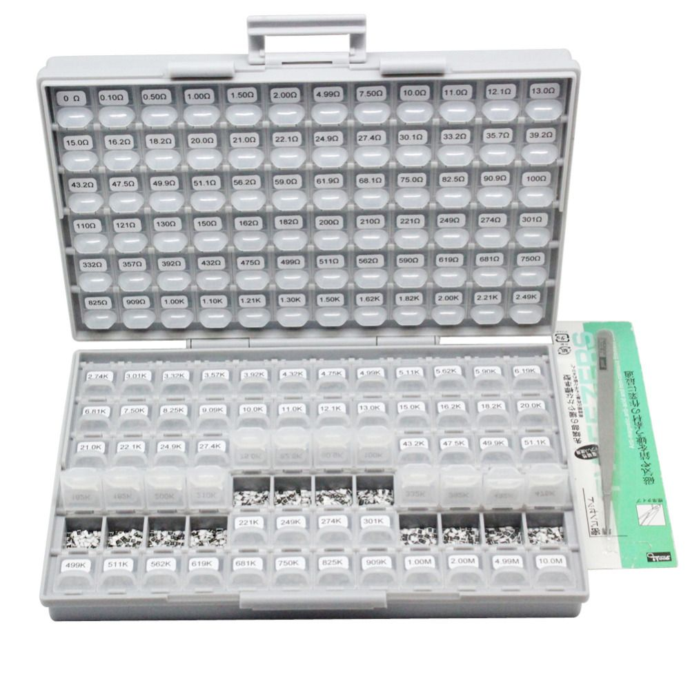 AideTek SMD SMT1206 1% resistor kit E96 assorted 14400pcs BOX-ALL10Mresistor storage box plastic part box lablesR12E24100
