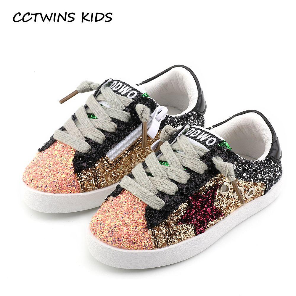 CCTWINS KIDS 2017 Toddler Baby Glittler Shoe Girl Star White Sneaker Boy Sport Shoe Kid Child Causal Trainer Sequin Flat F1550
