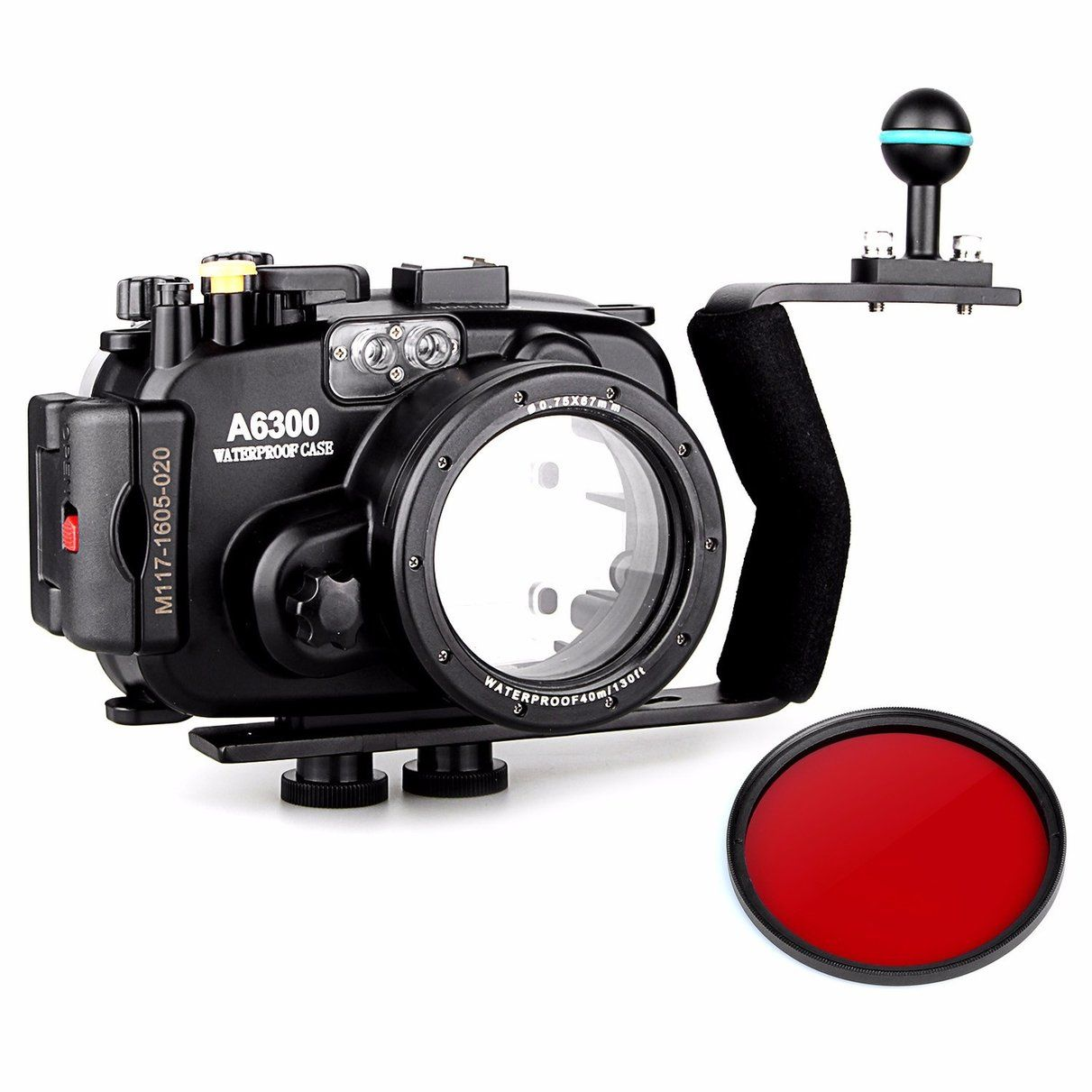 Meikon 40m/130ft Waterproof Underwater Camera Housing Case for A6300 + 16-50mm Lens + Aluminium Diving handle +67mm Red Filter