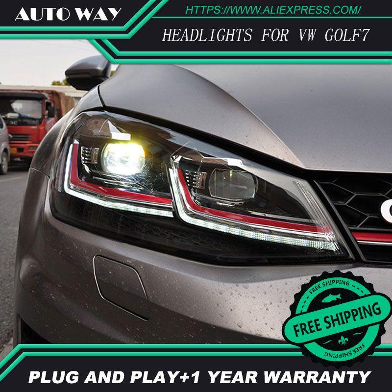 Car Styling H7 Head Lamp case for VW Golf7 Golf 7 Headlights Golf 7 MK7 2014 2015 LED Headlight DRL Lens Double Beam Bi-Xenon