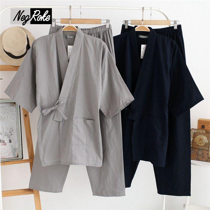 Плюс Размеры XL японские пижамы Наборы для ухода за кожей мужские пижамы мужской 100% хлопок свободные Халаты комплект для мужчин боксер халат...