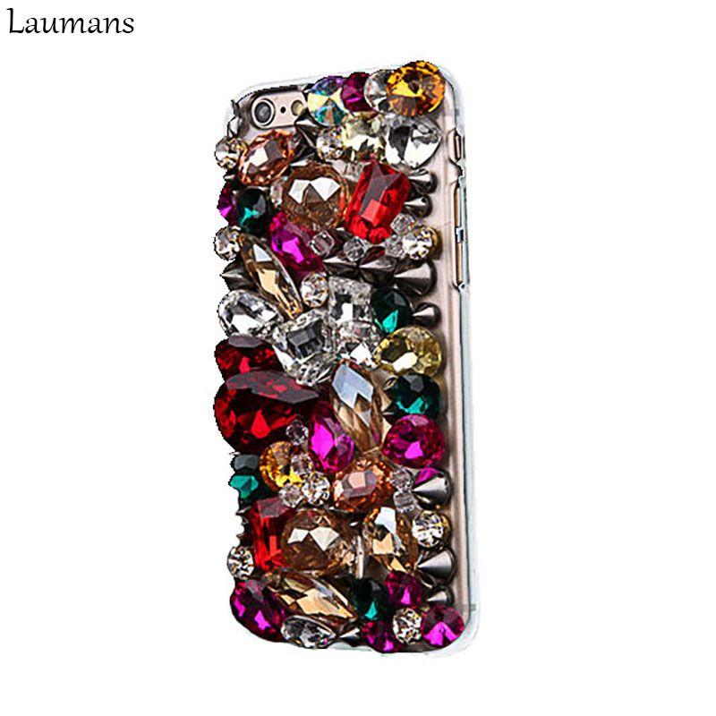 Laumans Glitter Bling full Rhinestone Diamond case for Apple iphone X 5s 5C SE 6s 6 7 8plus phone cover handmade back protection