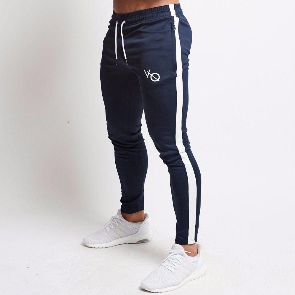 Pantalon jogging décontracté pour homme Fitness vêtements de sport pantalons de survêtement Skinny pantalons de survêtement noir Gyms pantalons de survêtement
