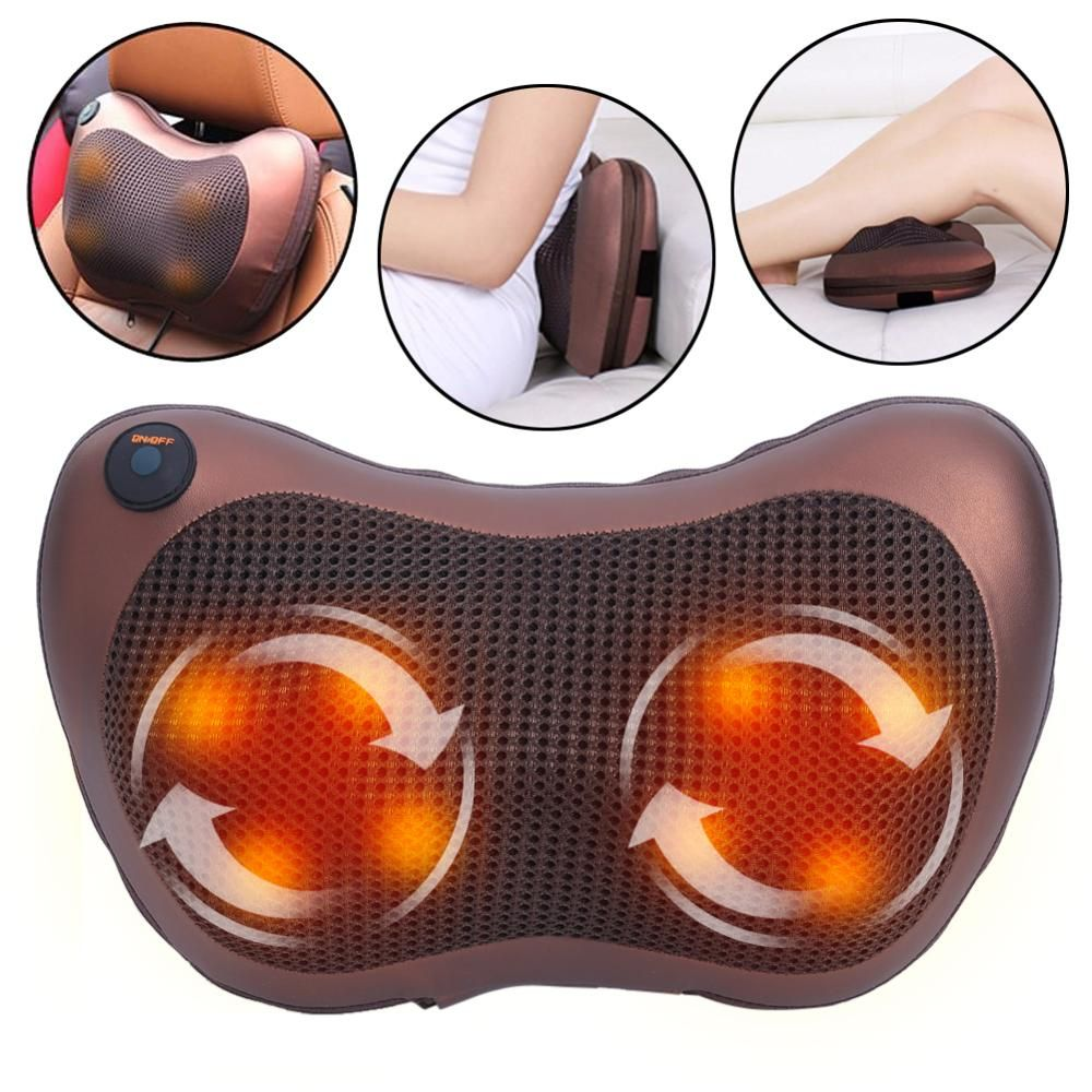 Dropshipping Neck Massager Shoulder Back Body Massage Pillow Electric Shiatsu Spa Home/Car Relaxation Pillow with LED Light Heat