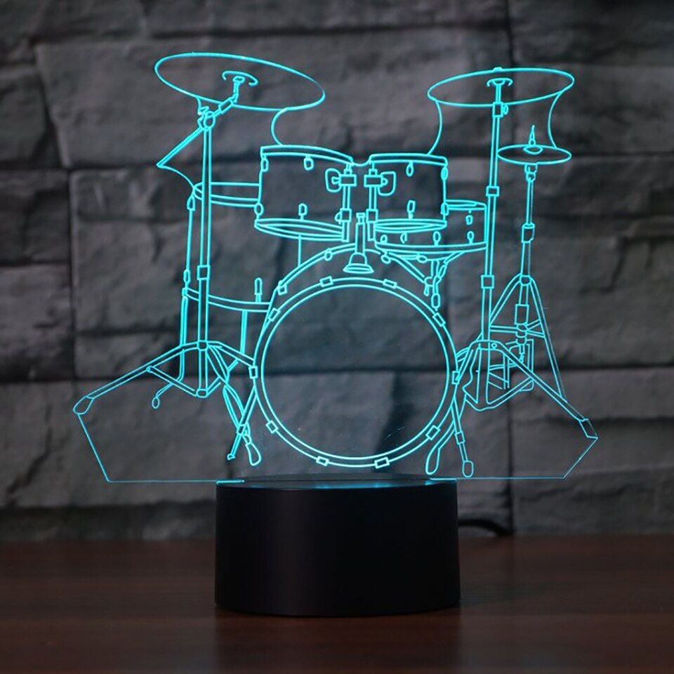 Creative Drum Set 3D Lamp 7 Color Change Remote/ Touch Switch LED 3D Night Light lights Musical <font><b>Instruments</b></font> Atmosphere lamp