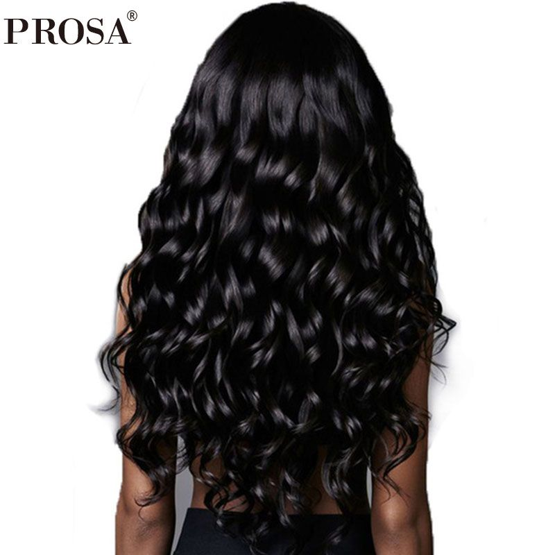 13x6 Deep Part Lace Front Human Hair Wigs 250% Density Brazilian Loose Wave Hair Wigs For Women Natural Black Remy Prosa
