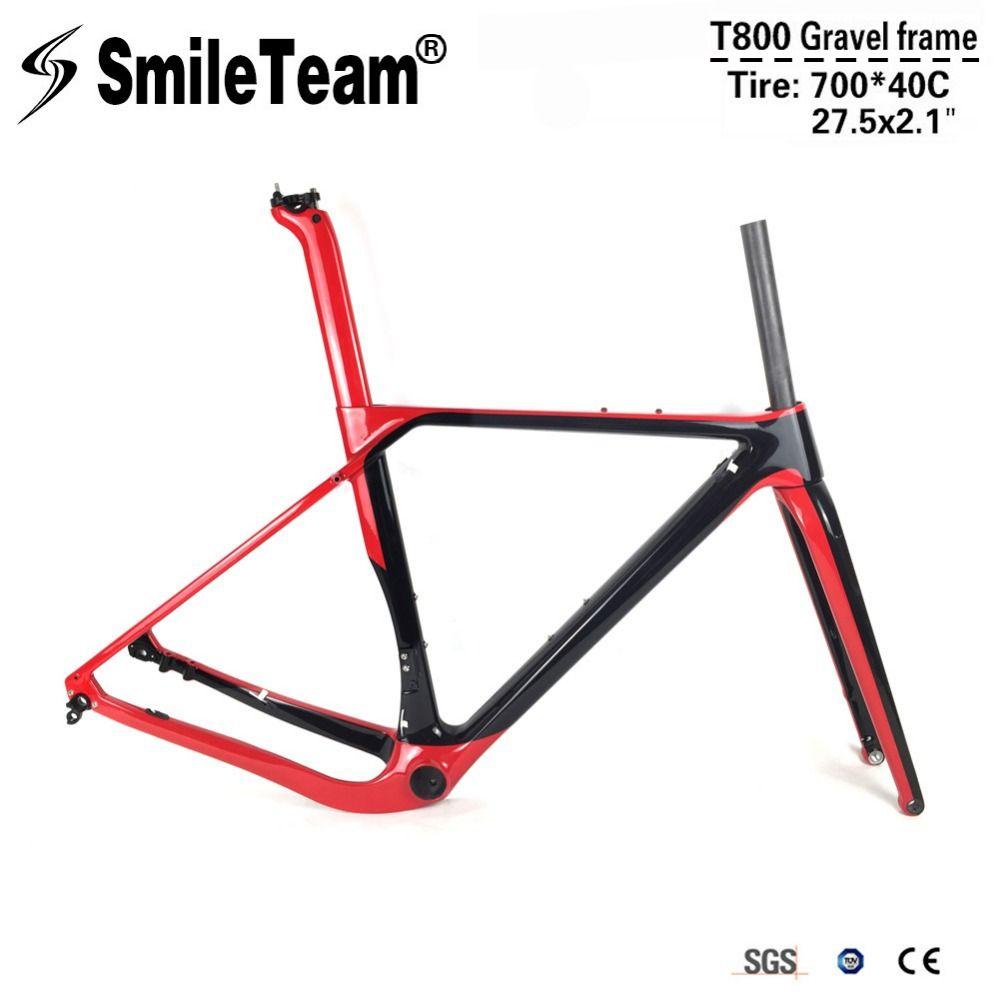 SmileTeam Carbon Gravel Bicycle Frames T800 Carbon Disc Brakes Cyclocross Frame Axle 142/135mm Carbon MTB Road Bike Frameset